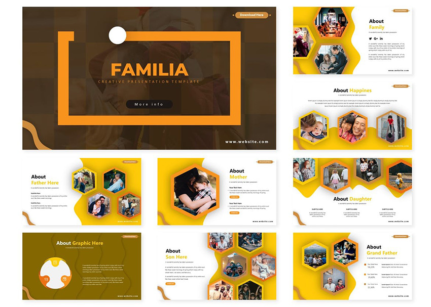 Familia - Powerpoint Template from Envato Elements with many visuals placeholders to create a lively presentation