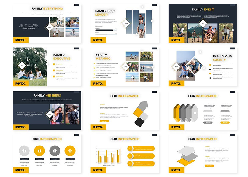 Families - Powerpoint Template from Envato Elements uses enough white space