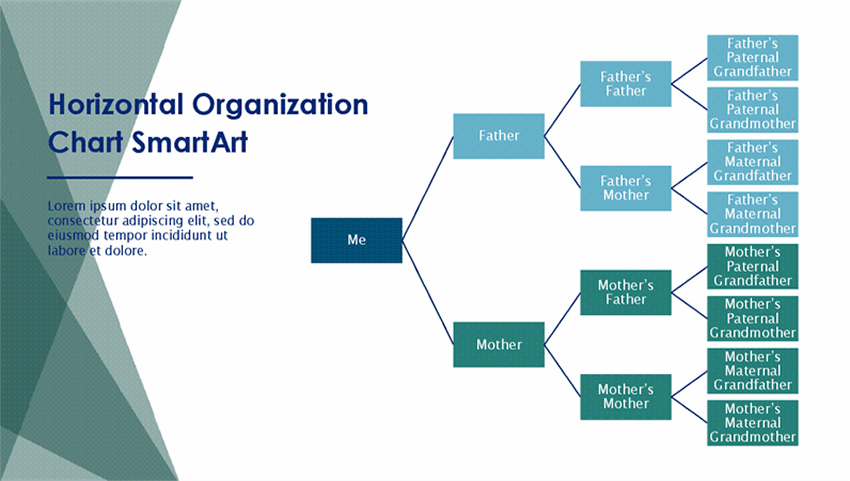Family Tree Chart Horizontal Green White Widescreen