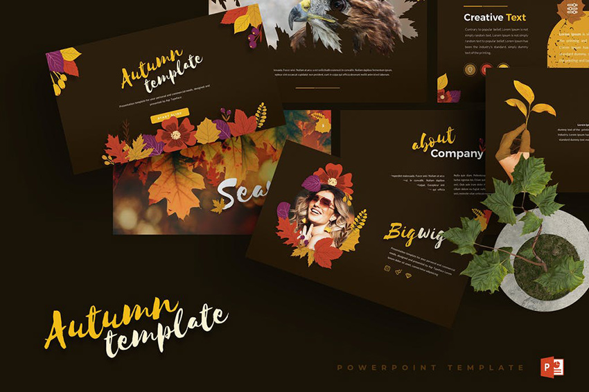 Dark Autumn PowerPoint Template a unique modern and impressive template on Envato Elements