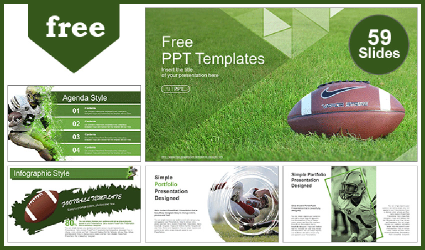 Over Grass Football PPT Templates Free Download