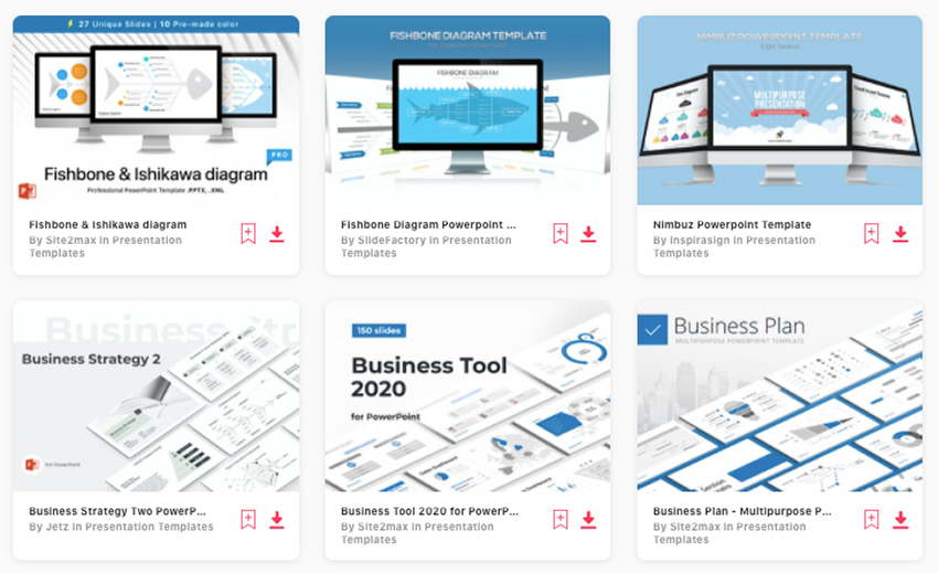 Premium Fishbone Diagram PowerPoint Templates from Envato Elements