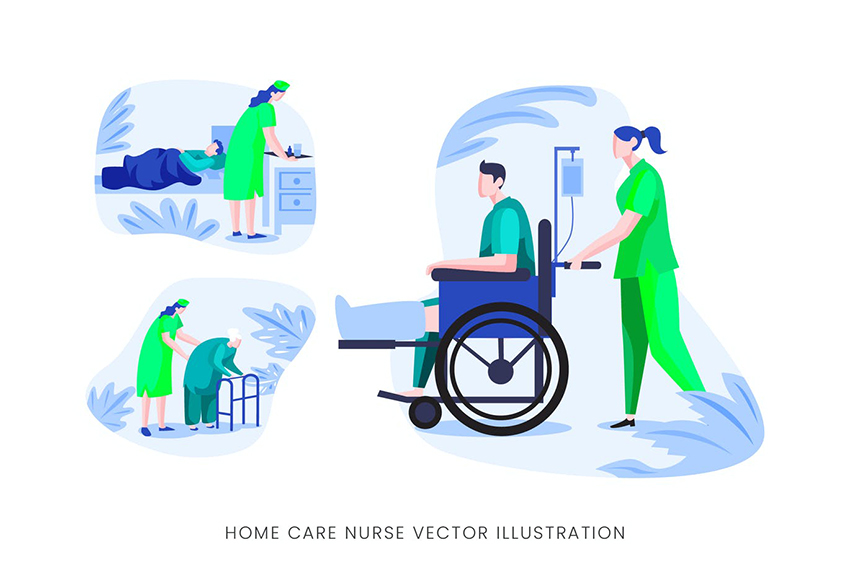 Home Care Nurse Vector Character Set