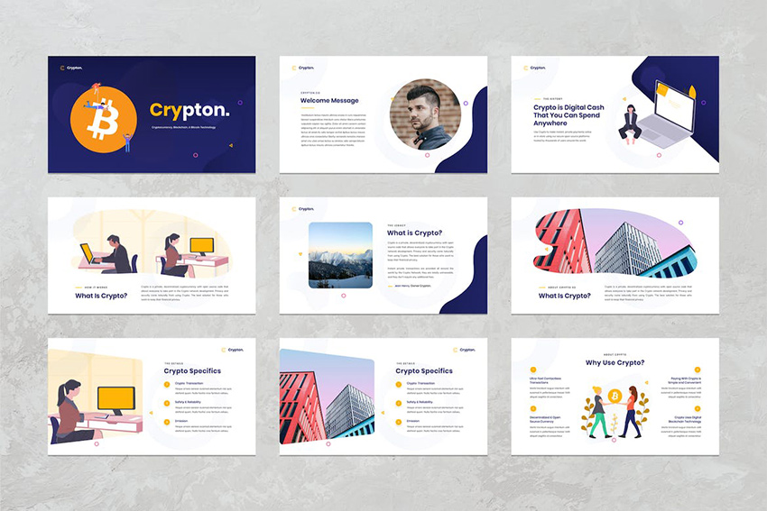 Crypton - Cryptocurrency PowerPoint Template from Envato Elements uses Custom Image Masks