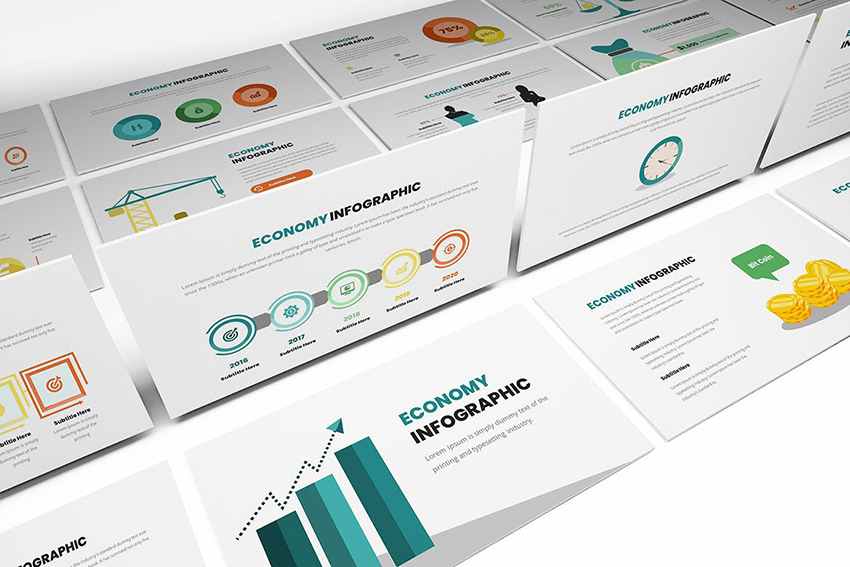 Economy Infographics PowerPoint Template a professionally designed template from Envato Elements