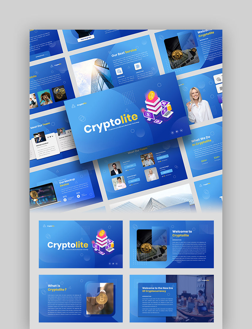 Cryptolite Money PowerPoint Template