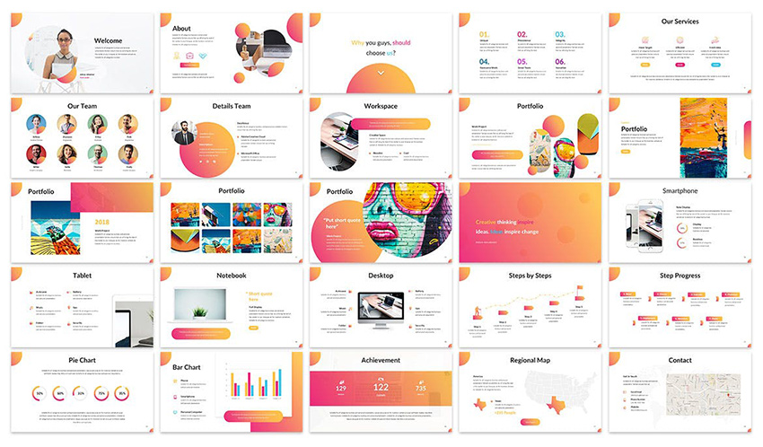 Clorama - Creative Google Slides Template comes with good mix of slides