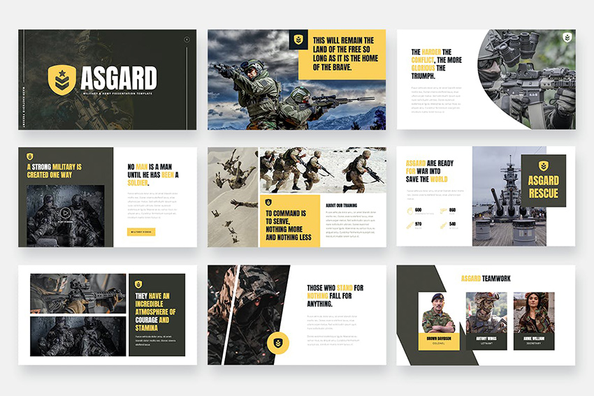 ASGARD - Military & Army Powerpoint Template, a professionally designed premium template from Envato Elements