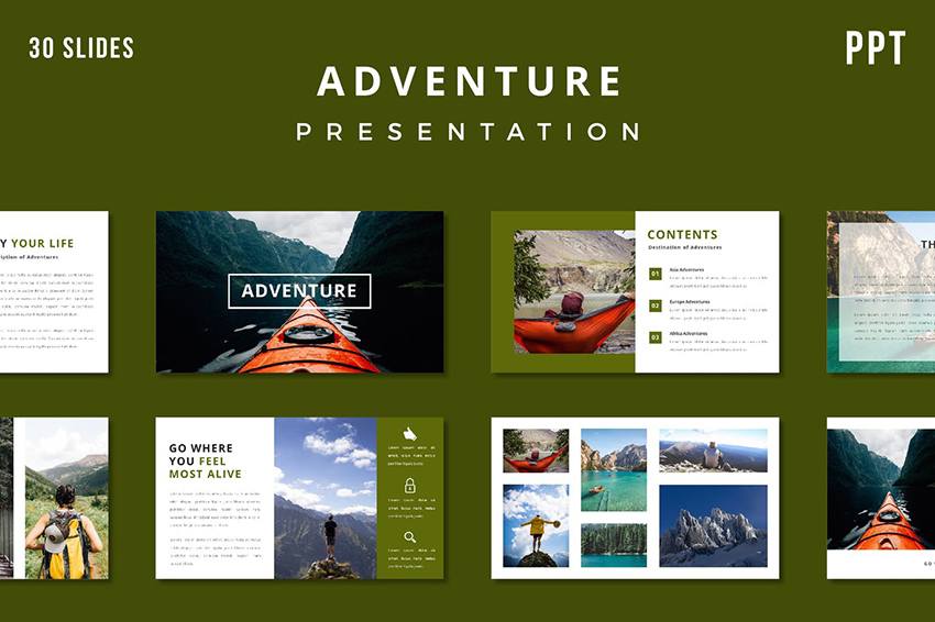 Adventure Presentation Template, a premium PPT template from Envato Elements with a content slide