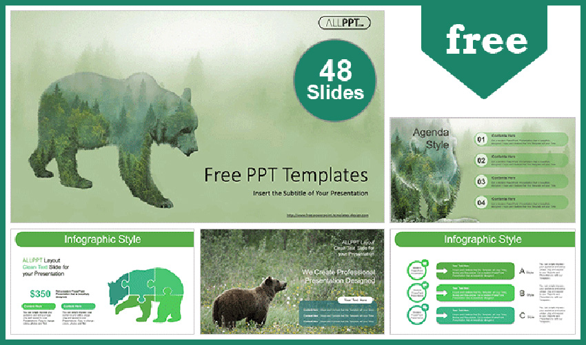 Free Silhouette Brown Bear PowerPoint Template