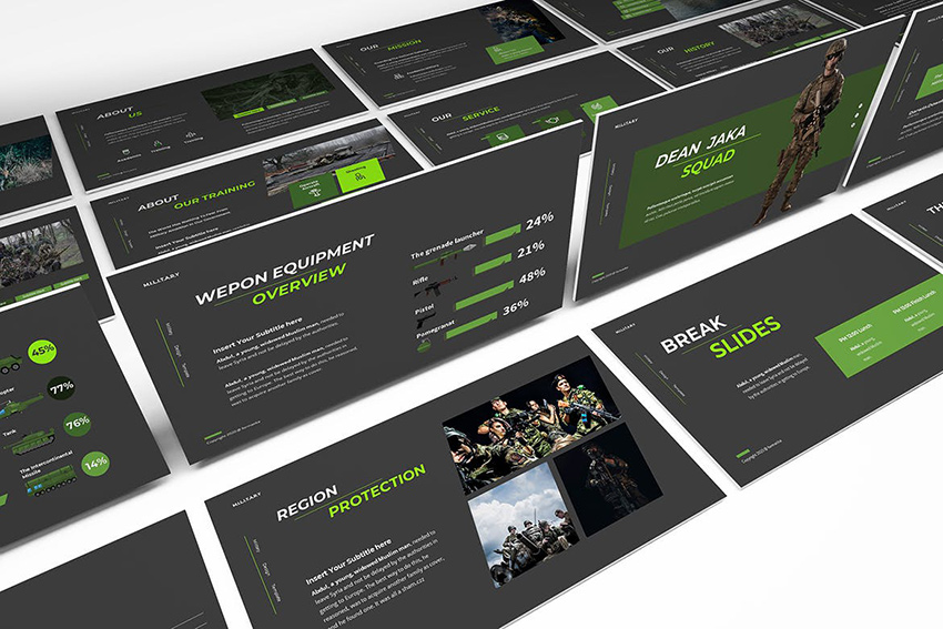 Dean Jaka Military PowerPoint Template, a minimalistic template from Envato Elements