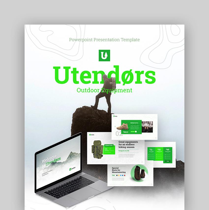 Utendors Outdoor Equipment PowerPoint Template
