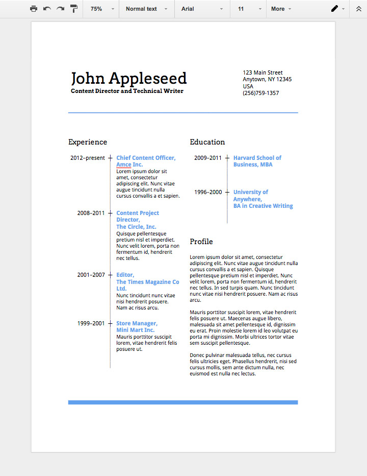 google docs resume template free