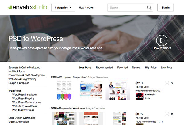 Envato Studio PSD to Wordpress site