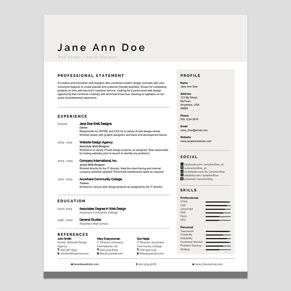 Ten Great Free Resume Templates Microsoft Word Download Links: Personalize A Modern Resume Template In MS Word