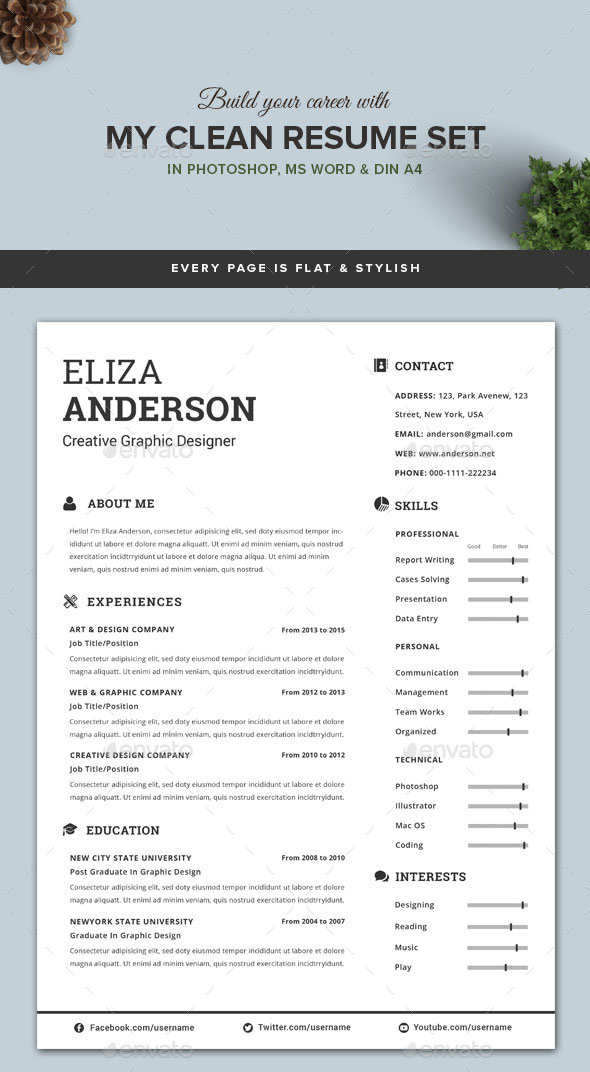 Modern Clean Resume Template  Template For Resume Microsoft Word