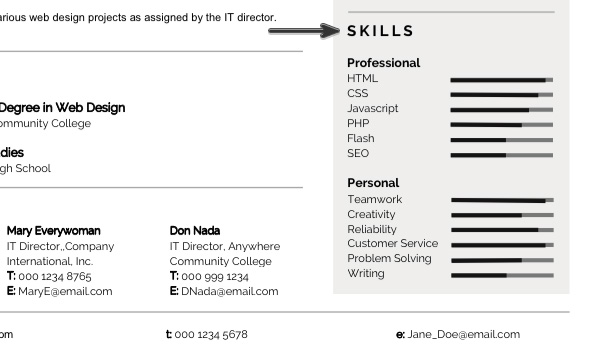 Modern Resume Skills Section  Words For Resumes