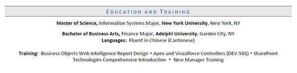 Education And Training Section Example  Training On Resume