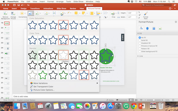 Resize and recolor icon in PowerPoint