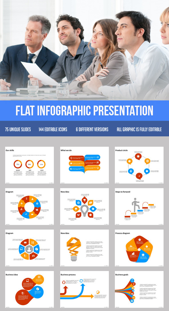 Flat infographic presentation template