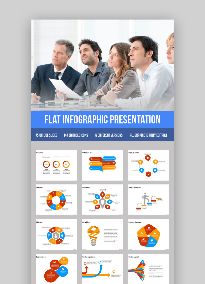 PowerPoint presentation theme for Flat Infographic PPT