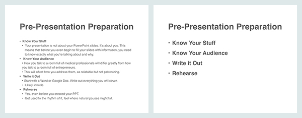 Principles of PowerPoint presentation