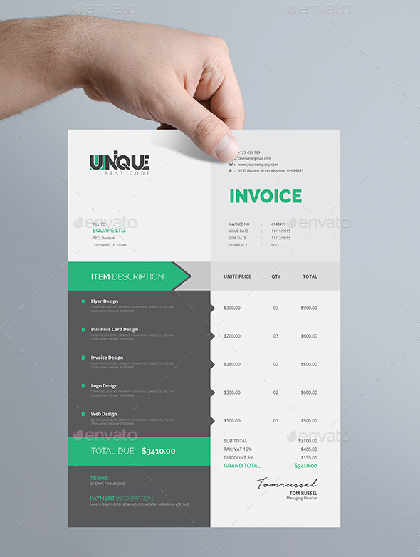 Creative Invoice Template  Graphic Design Invoices