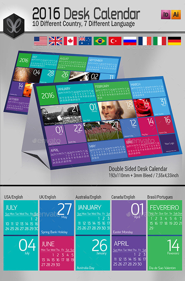 Printable Monthly Desk Calendar - 2016