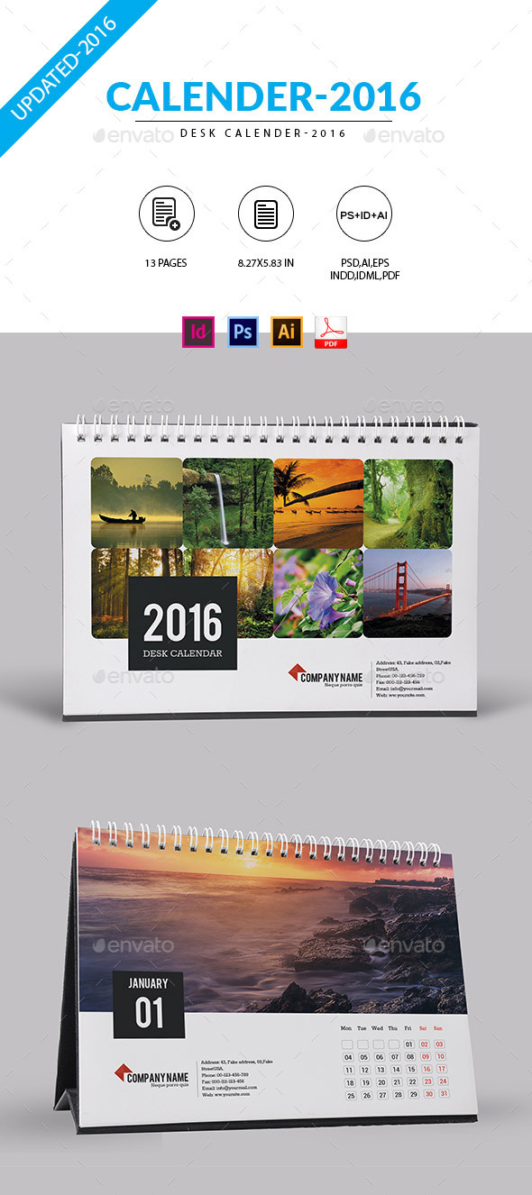 Desktop Monthly Calendar - Printable Blank 2016
