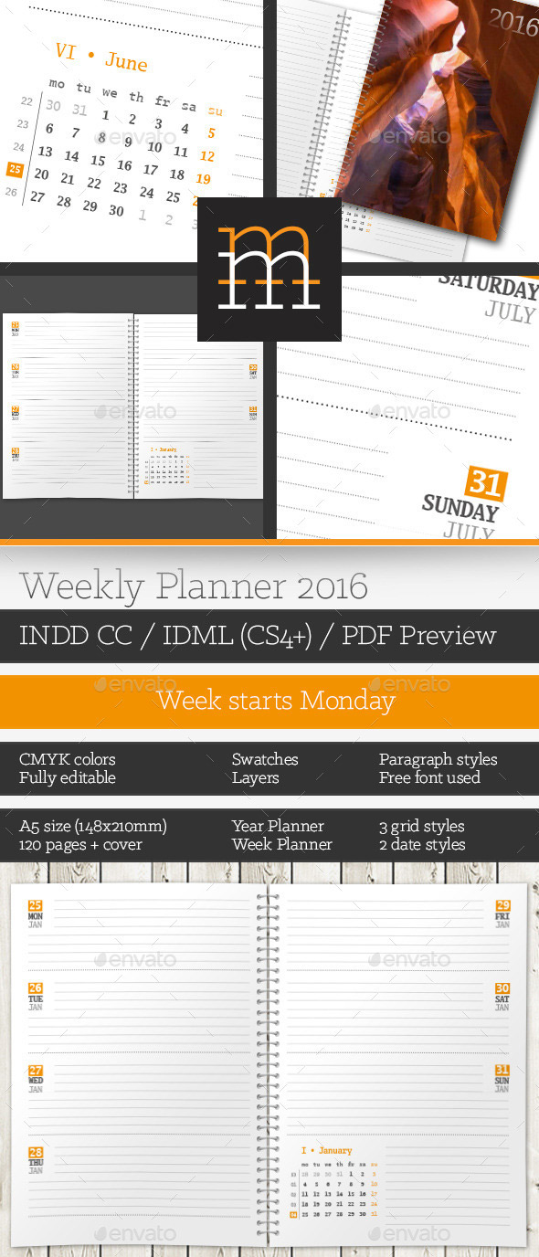 Blank Printable Weekly Planner Template 2016