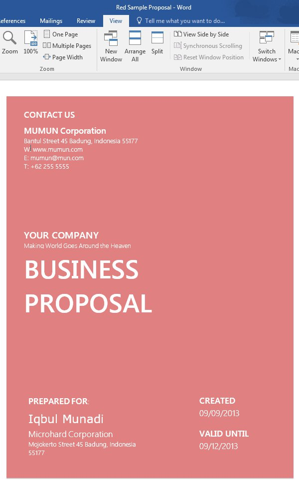 Custom Proposals Template Cover