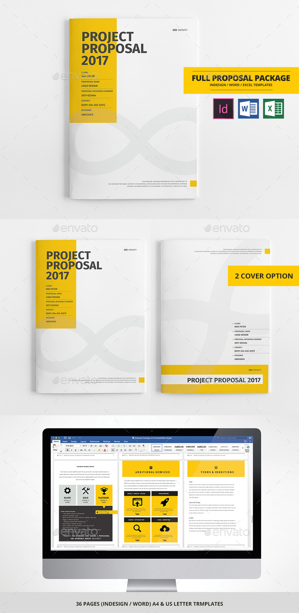 Business Proposal Template Package   Word InDesign Excel  Proposal Templates Word