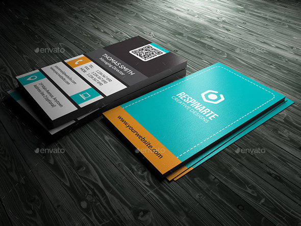 5 Double-Sided, Vertical Business Card Templates - Photoshop (PSD)