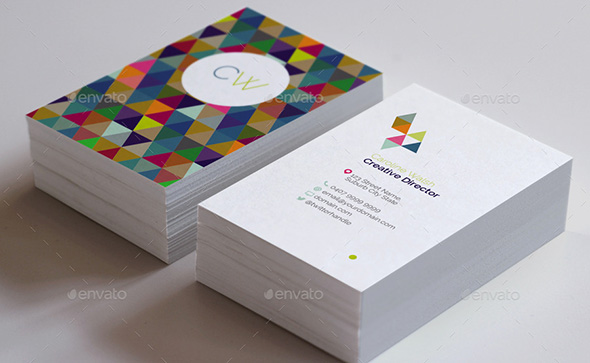 Double Sided Geometric Pattern Business Card Template