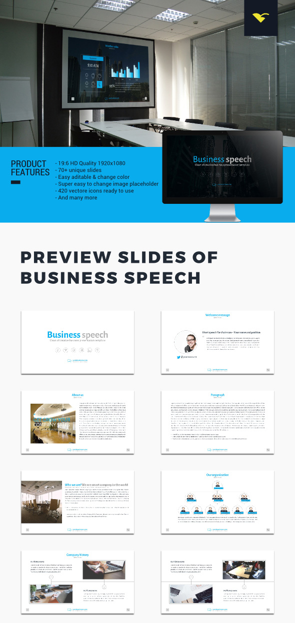 Business Speech Google Slide Presentation Theme