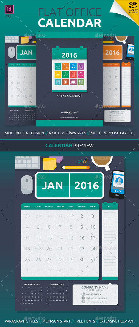Modern flat office style 2016 calendar template