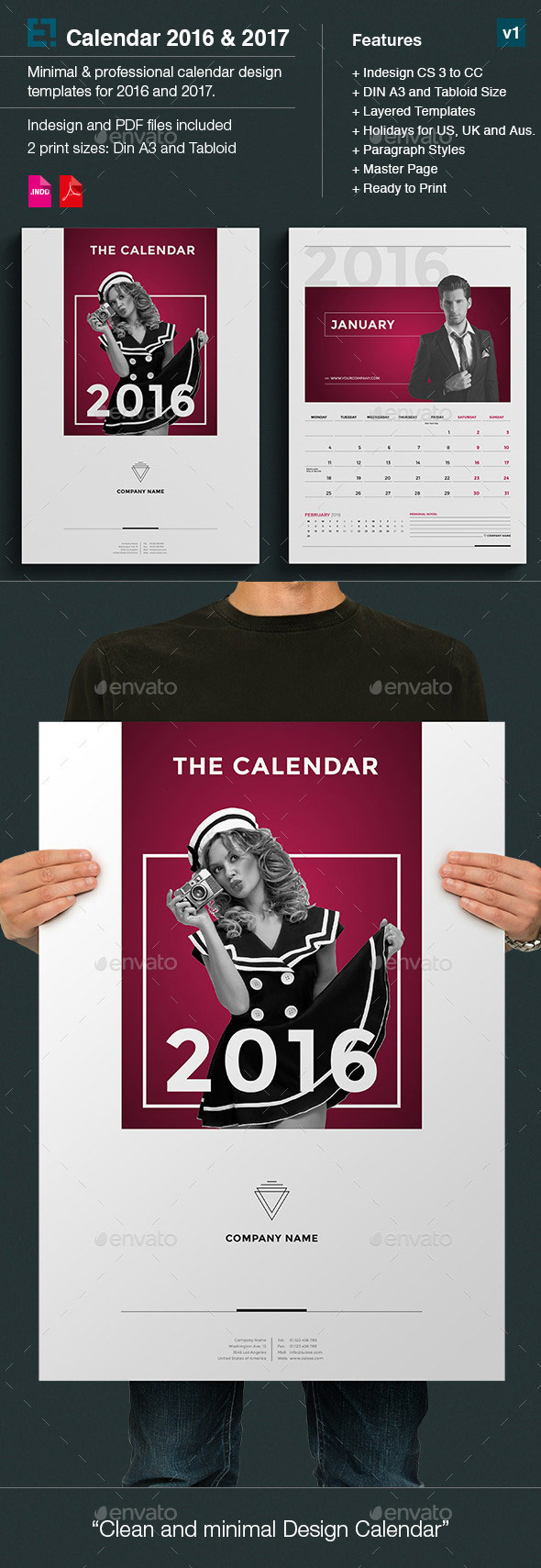 Minimal photo calendar template monthly 2016
