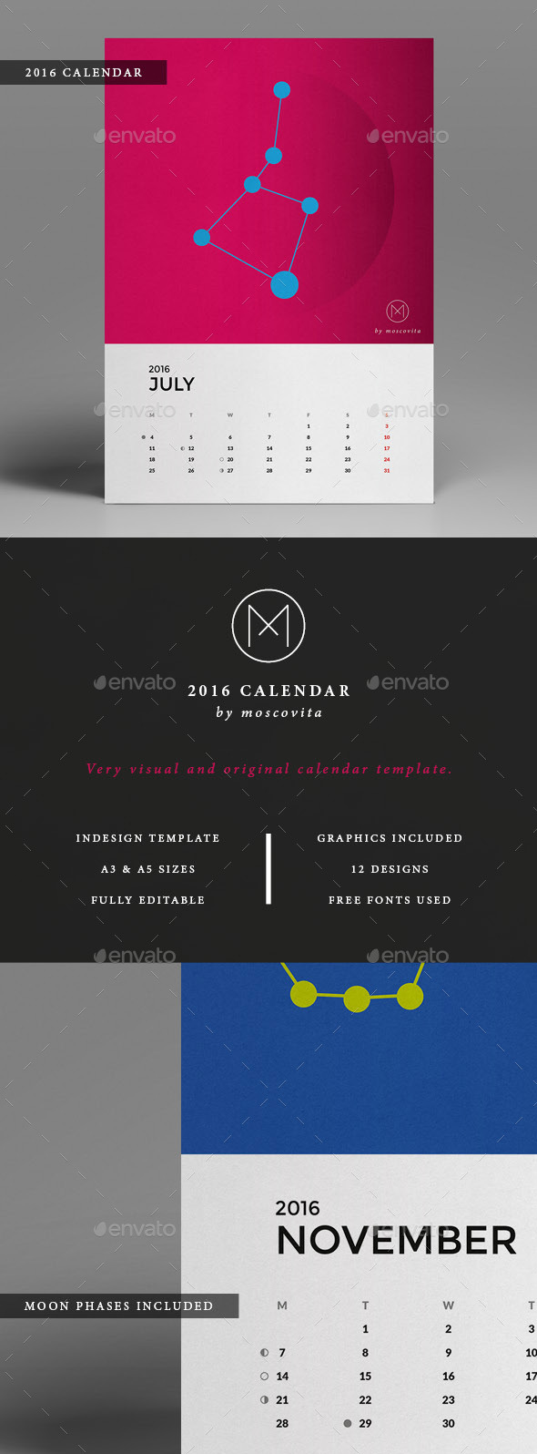 Creative Brandable 2016 Calendar Template