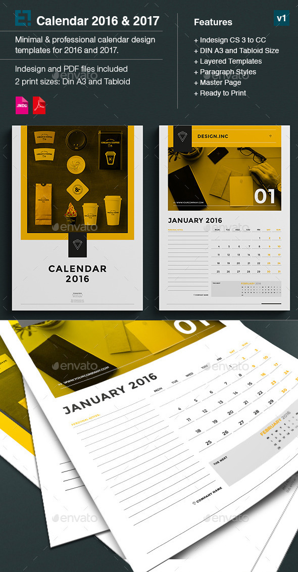 Quarterly Calendar Design : Kickstart with a creative monthly calendar template