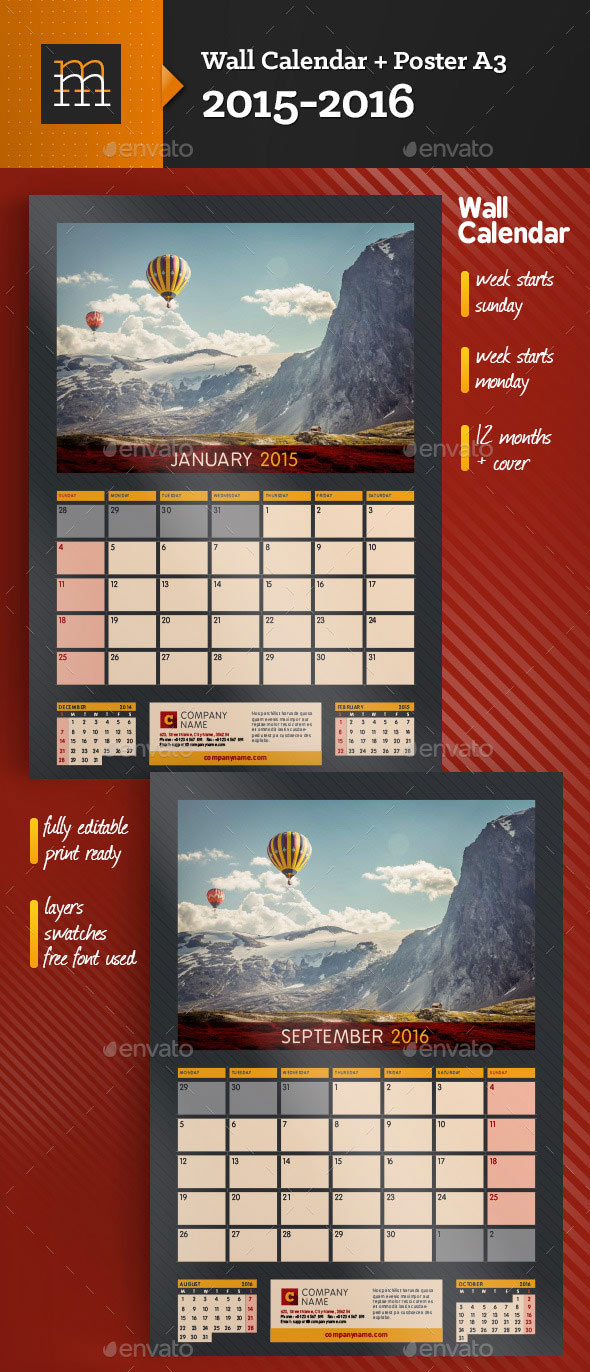 Calendar Templates Creative : Kickstart with a creative monthly calendar template