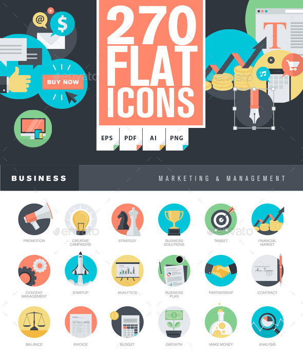 Flat icon graphics template set