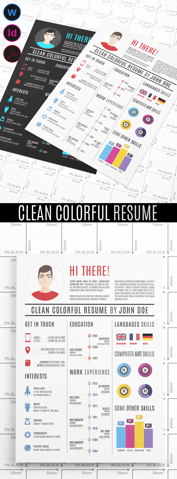 Colorful graphic design resume template