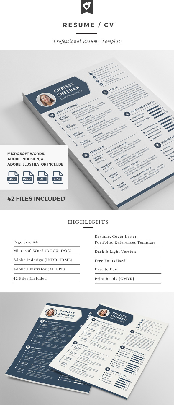 Resume CV Template Design With Clean Infographics  Resume Or Cv
