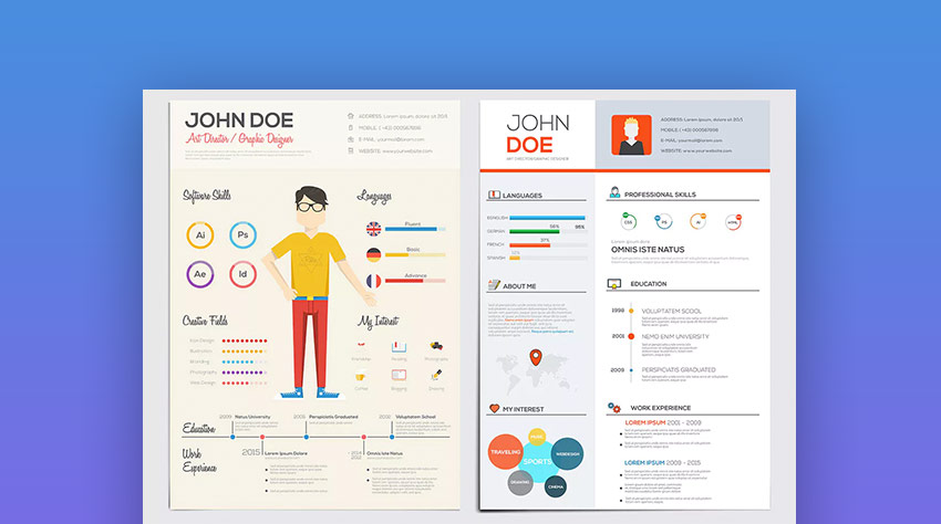 Simple Flat Resume Template With Infographics