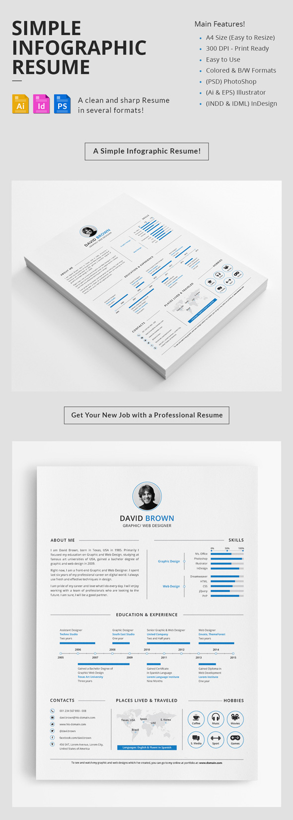 18 creative infographic resume templates for 2018 minimal resume template design fandeluxe Choice Image