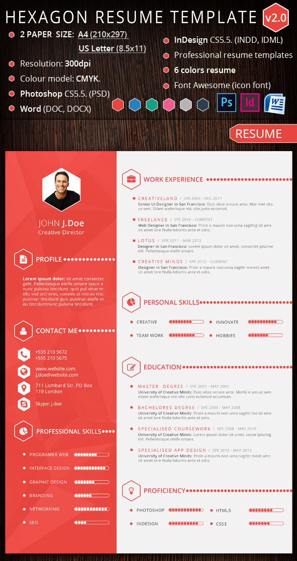 facebook timeline resume template word hexagon creative design