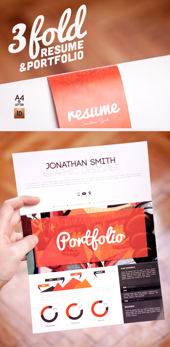 Graphic resume design template with folio