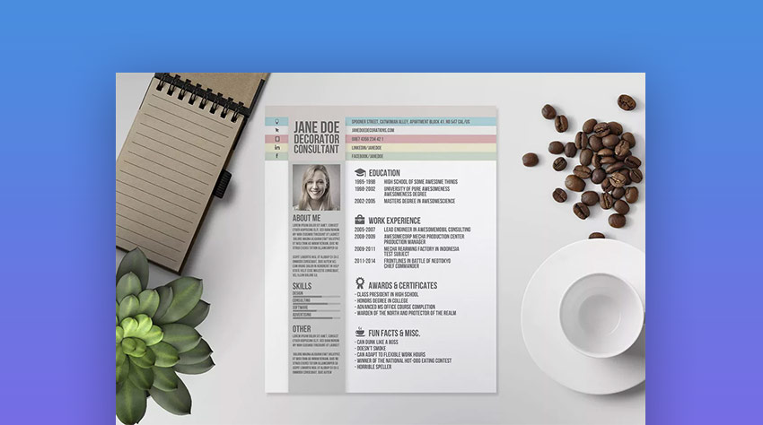 Creative design ResumeCV Template V Photoshop PSD