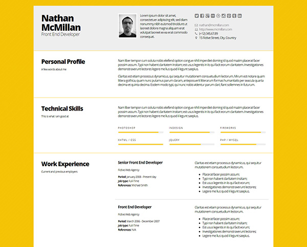 bold better responsive resumecv template - Creative Resume Ideas