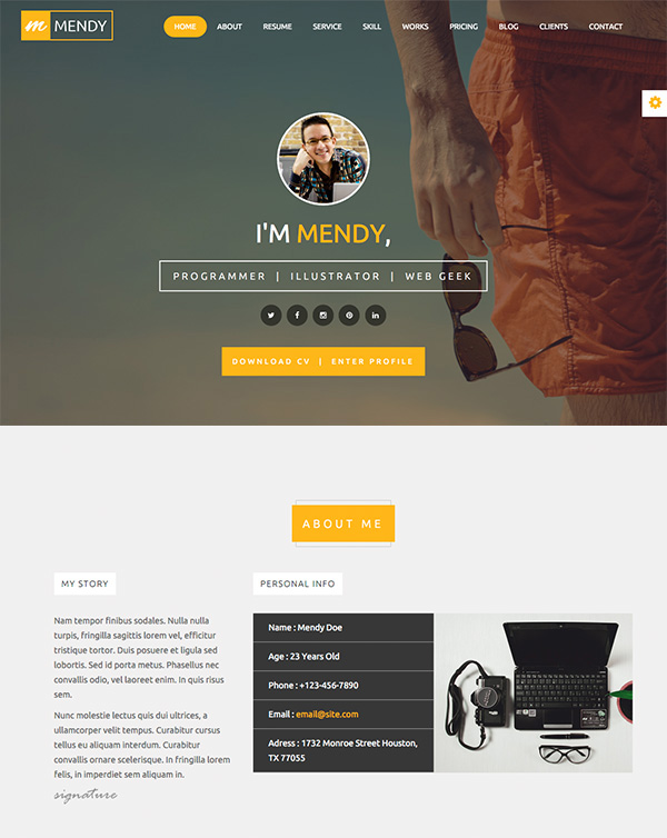 personal cv website template free page resume design web